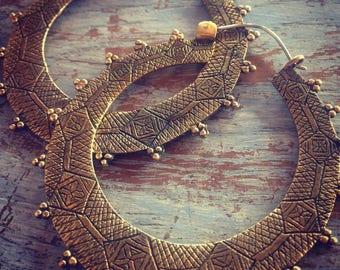 Large - Berber Gypsy Hoop - Brass  Earrings - Tribal Earrings