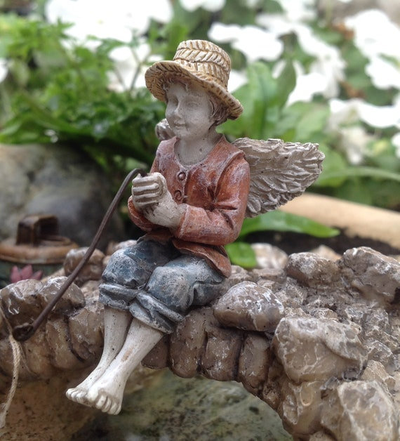"""Fairy Maddox Holding His Fishing Pole (3.25"""") with Metal Pick for the Fairy Garden"""