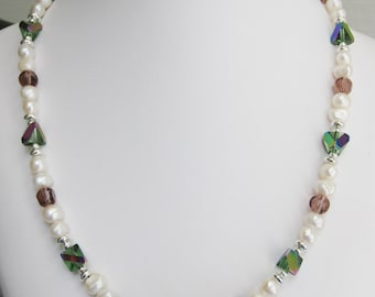 AB Chevron Glass and Freshwater Pearl Necklace