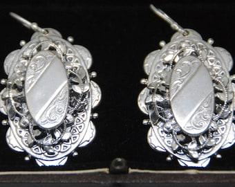 Huge 1800s Victorian Silver Antique Earrings