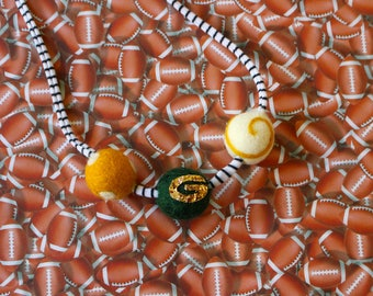 GreenBay Packers Felted wool ball Necklace