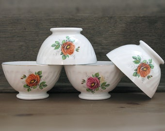 set of 4 french cafe au lait bowl with antique roses flowers,  porcelain, white and gilded china