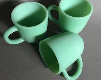 Vintage Jadeite Jadite Coffee Mug Cup Set of 3