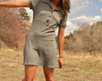 Vintage 90s Gray Babydoll Capsleeve Collared Peter Pan MINI Dress