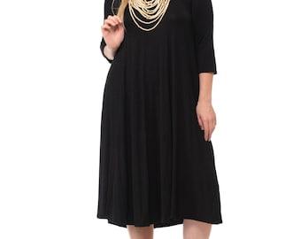 A-Line Trapeze Midi Dress Plus Size Black