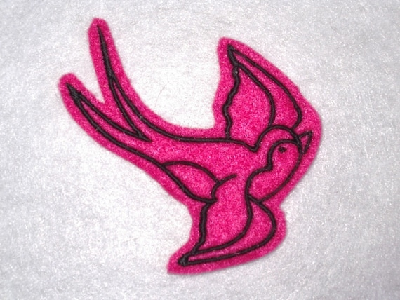 Pair of Swallow iron on patches tattoo inspired