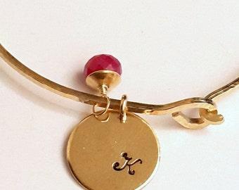Personalized Charm Bangle Bracelet, Birthstone Red Ruby, Purple Amethyst, Green Aventurine, Blue Apatite, Handmade