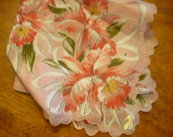 Vintage Handkerchief, 1970s, Sheer Pink Cotton Hankie, Antique Linens, Vintage Hankies, Embroidered Linens, Wedding,