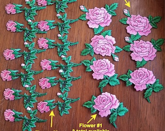 Rose and rosebud embroidered patches