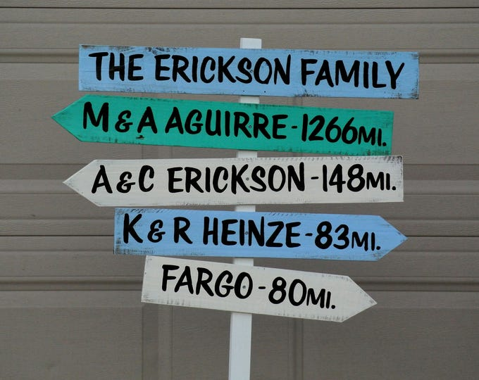 Arrow Family Directional Destination Sign, Rustic Mileage Garden Decorative Sign Post, Yard wood sign, Family unique gift idea.