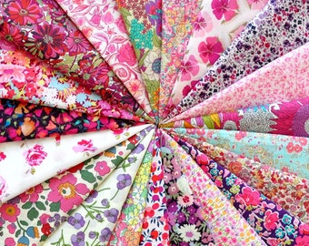 "20 LIBERTY fabric Tana Lawn 5"" x 5"" Patchwork Charm pieces 'Pink and Purple'"