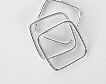 Square Sterling Silver Ring Stack- Square Shape Ring, Stack of Three Rings