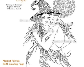 Magical Friends - 8x10 Fairy Tangles Printable Coloring Pages Witch Cat Adult Coloring Book Sheets by Norma J Burnell Halloween Witches Cats