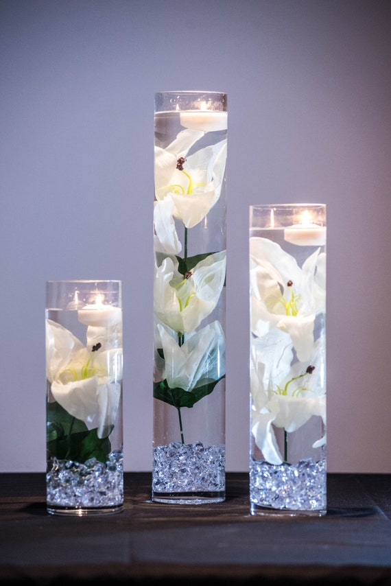 Submersible white tiger lily floral wedding centerpiece with mightylinksfo