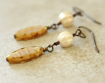 Beige Earrings, Champagne Earrings, Caramel Earrings, Creamy Earrings, Czech Glass Beads, Boho, Dangly Earrings, Neutral Colors