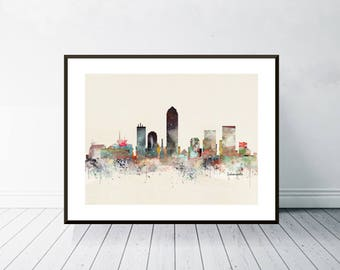 indianapolis indiana skyline .colorful pop art watercolor city skylines.indianapolis city poster. giclee art print for home decor.