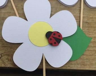 Flower & Ladybug Cupcake Toppers