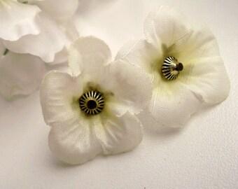 White fabric flower dangle white flower floral dangle fabric dangle  flower earrings summer earrings summer flower summer dangle easy dangle