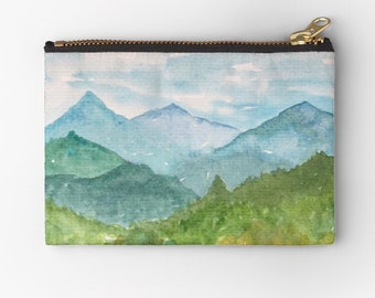 Mountain makeup bag, Carryall bag, watercolor bag, Zip pouch, Toiletry bag, cosmetic bag, Accessory Pouch, Zipper Bag, Smoky Mountain bag