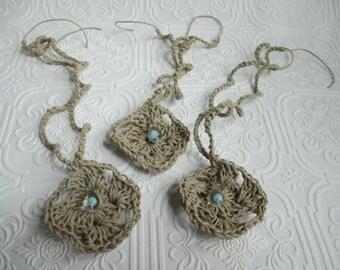 HEMP NECKLACE CLOSEOUT - Grade B Handmade Light Blue Shroom Mushroom Glass Pendant - lot of 3
