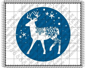 Winter Wonderland Reindeer Edible Cake or Cupcake Toppers - Choose Your Size