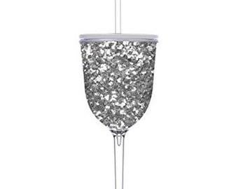 Silver Glitter Wine Tumbler 13 oz w/ optional Monogram
