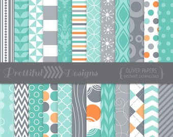 Digital Paper Pack Turquoise Orange and Gray - Oliver