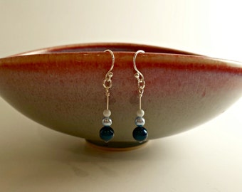 Swarovski Blue Pearl Drop Earrings