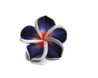 20 mm Purple Polymer Clay Plumeria Flower Beads set of 4 (P37)