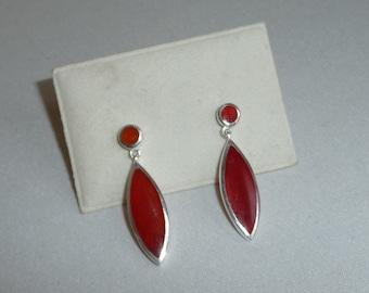 Beautiful Vintage Carnelian Sterling 925 Silver Drop Earrings