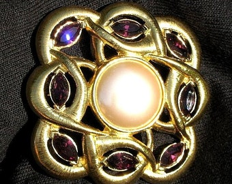 Brooch Pin Pearl Rhinestones Signed Monet Vintage Wedding Mother Bride Purple BoLd Designer Statement Clip Statement Modernist High Relief