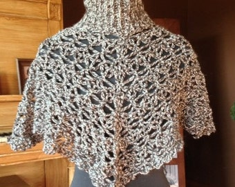 Lacy Lattice Turtleneck Poncho