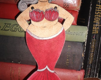 Fat red tailed articulated mermaid heart paper doll