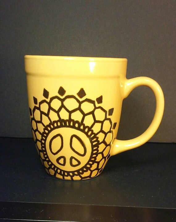 13 oz Yellow Coffee Mug with Hand Painted Brown Peace Sign and