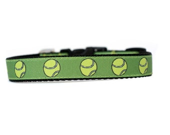 5/8 or 3/4 Inch Wide Dog Collar with Adjustable Buckle or Martingale in Tennis Balls an Exclusive Design