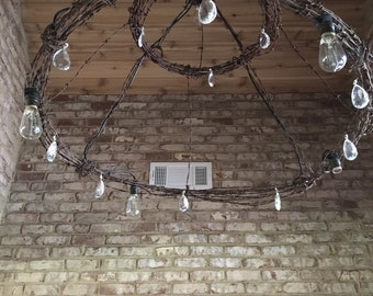 Barbed wire chandelier light fixture
