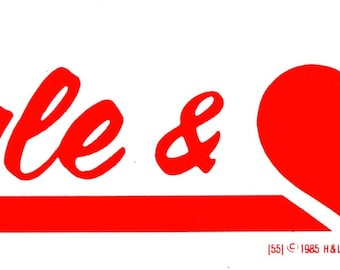 """Vintage 1984 Bumper Sticker """"Single & Love It!"""" 9"""" x 3"""" White with Red Print"""