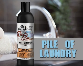 Pile of Laundry Herbal Pet Dog Cat Shampoo Wash Dirty Critters 8 ounce bottle