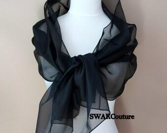 Black Chiffon Scarf, Sheer Ivory Bridal Wrap, Elegant Wedding Scarf, Special Occasion Wedding Shawl Stole - or Choose Color