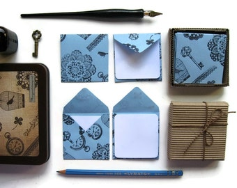 Blue Paper Lace Stamps Small Square Envelopes, Mini Stationery Set, Blank Note Greetings Cards, Thank You, Skeleton, Gifts Tags Under 15