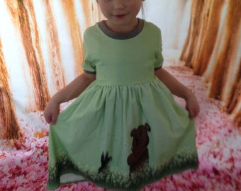 Jersey dress Gr. 122 up to 6 years with bear and Bunny