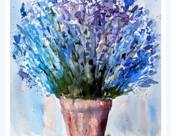 PRINT (8x10) of  blue lavender Watercolor Painting, Lavender Painting, Watercolor Lavender