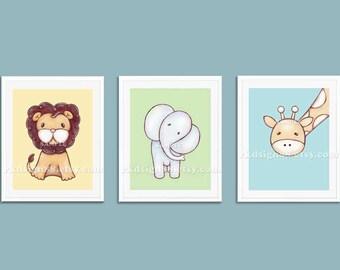 Childrens wall art, nursery art prints, baby boy nursery decor, safari animals, kids wall art, elephant, lion, giraffe, set, 3 prints