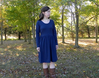 Womens Long Sleeve Gathered Cotton Jersey Knit Dress Made in the USA Organic - Handmade to order - Gathering