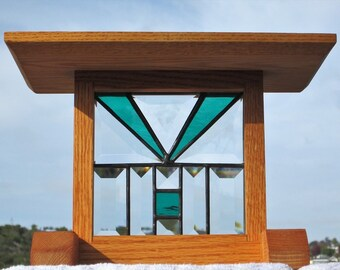 Craftsman Green Stained Glass Beveled Glass Solid Oak Display|Plant Stand