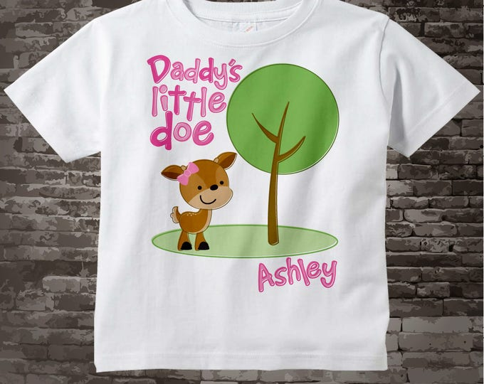 Daddy's Little Doe Shirt, Personalized Woodland Shirt or Onesie with Little Deer Shirt 03112015c