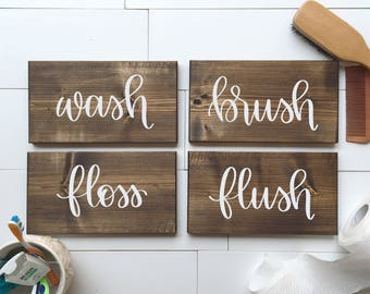 Wash, Brush, Floss, Flush | Set of 4 Wood Signs