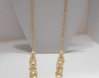 Gorgeous 15mm Faux Pearl Chain Necklace (4552)