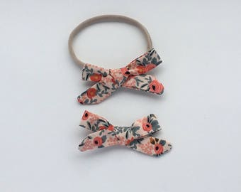 Orange floral bow, Baby headband, baby girl headband, hair bows, newborn headband, newborn photo prop, toddler headband, baby hair bow