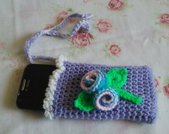 Handmade!! Cell Phone Cozy with mini Rose Bud